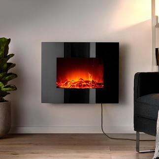 Foyer électrique mural Chaleur agréable et fascination d'un feu de cheminée plein de force - sans flamme nue.