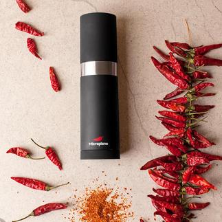 Moulin à piments Microplane® Pour trancher la même quantité à chaque tour, le tout avec une finesse extrême.