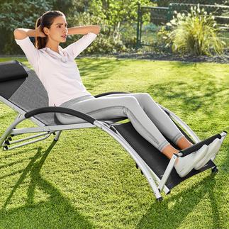 Chaise longue multifonctions 2-en-1 Cette chaise longue polyvalente vous laisse le choix : soit vous détendre, soit muscler vos abdominaux.