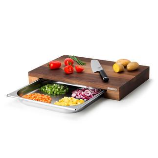 Planche à découper professionnelle avec coupelle de récupération Gagnez du temps et des efforts et produisez moins de vaisselle.