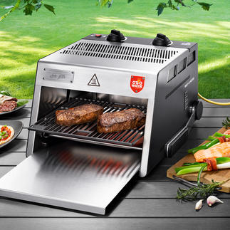 Grill haute température O.F.B., planche à découper incluse Nouvelle version améliorée : le grill viande à 800 °C – avec grande surface de cuisson.