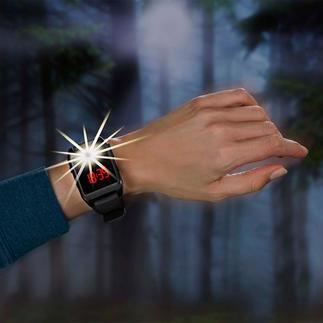 Montre bracelet avec sirène d'alarme de 120 décibels Une sirène de 120 dBA à activer d'une simple pression du doigt en cas d'urgence.