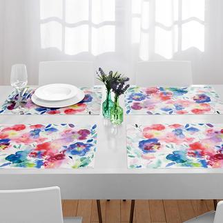 Sets de table Aquarelle, lot de 6 pièces Sets de table aux motifs floraux tendance. Durablement beaux et robustes, une joie au quotidien.