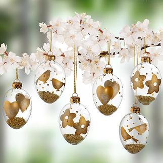 Œufs de Pâques en verre avec motifs dorés, lot de 6 pièces Décorés à la main de motifs délicats de fleurs, d'oiseaux et de cœurs. Remplis de granulés aux reflets dorés.
