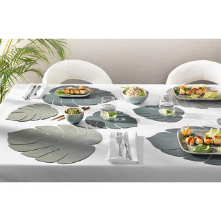 Set de table « Monstera », lot de 2 pièces Esprit jungle pour la table et le buffet : sets de table en forme de feuille tropicale.