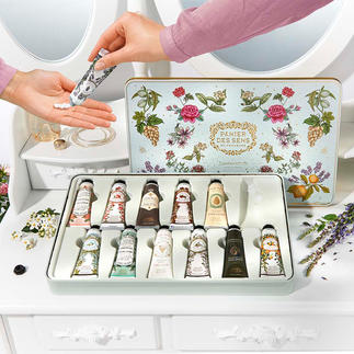 Soin des mains « Panier des sens », lot de 12 pièces Douze crèmes pour les mains aux précieuses huiles essentielles de Provence, composées à Grasse.