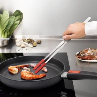 Pince de cuisine à embouts amovibles en silicone Quasi indestructible. Idéale pour l'utilisation dans une poêle ou une casserole à revêtement.