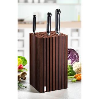 Bloc de couteaux design Un espace flexible pour jusqu'à 12 (!) couteaux de presque toutes les tailles. Design élégant en bois de hêtre.