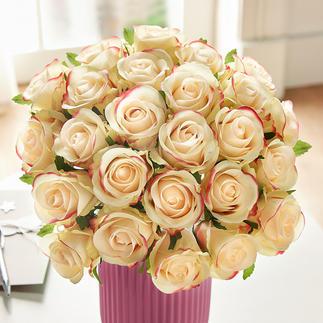Bouquet de roses Splendeur luxuriante à la beauté éternelle. Superbe dégradé de couleurs allant du jaune pâle au rose.