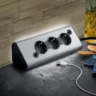 Bloc multiprises WMF Ambient Pro Avec 3 prises, 2 ports USB pour charger vos appareils nomades et éclairage d'ambiance agréable.