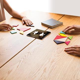 Tangram Challenge L'ancien casse-tête chinois classique, maintenant en jeu de société. Pour jusqu'à 4 joueurs. Avec 200 modèles et solutions.
