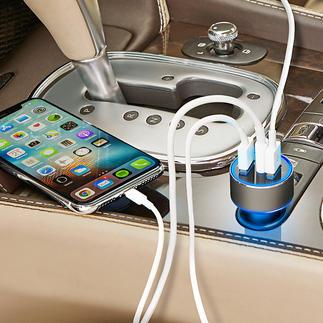 Chargeur USB haute vitesse à 3 ports Le chargeur voiture haute vitesse nouvelle génération : jusqu'à 4 fois plus rapide.
