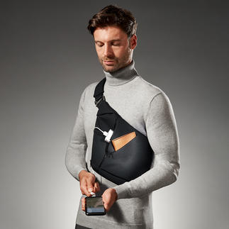 Sac en bandoulière porté croisé Baggizmo Élégant, plat et discret, même plein. Parfait sous une veste, un blazer ou un veston.