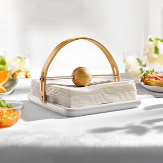 Porte-serviettes de table design Un objet décoratif élégant qui accroche les regards sur la table et le buffet. Fabrication en bois de chêne et céramique.