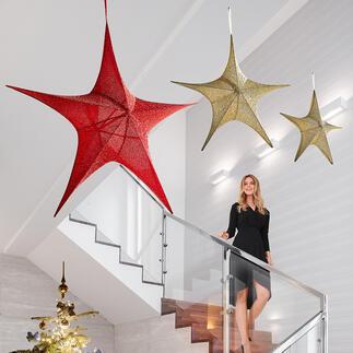 Étoile en tissu XXL Effet spectaculaire pour ces élégantes étoiles scintillantes habillées de tissu au format XXL.