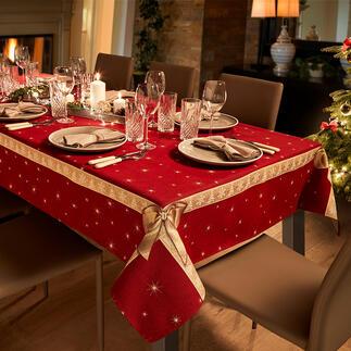 Nappe ou Chemin de table «nœuds» Une belle décoration très festive, d'une beauté radieuse et aux couleurs vives de Noël.