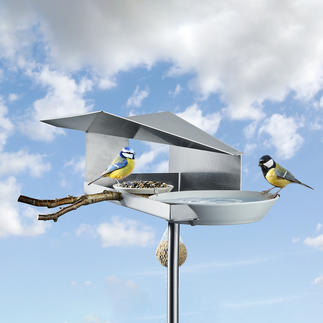 Mangeoire à oiseaux design Protège la nourriture de la pluie tout en récupérant l'eau dans l'abreuvoir.