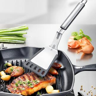 Spatule à manche coudée La nouvelle génération de spatule surmonte des parois de poêle hautes haut la main.