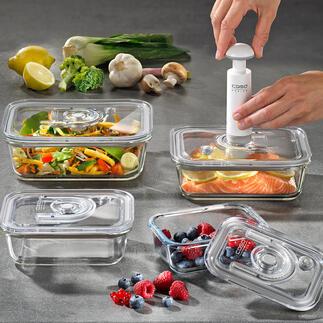 Boîtes sous vide en verre,lot de 4 pièces Elles conservent vos aliments jusqu'à 8 fois plus longtemps. Hygiéniques et adaptées pour le congélateur, le four et le micro-ondes.
