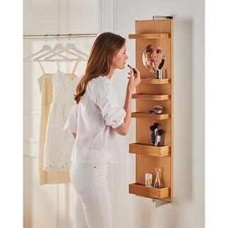 Miroir cosmétique mural Vous le faites tourner et déjà tout est rangé ! Le miroir mural pivotant au design élégant et moderne en bois de chêne noble.