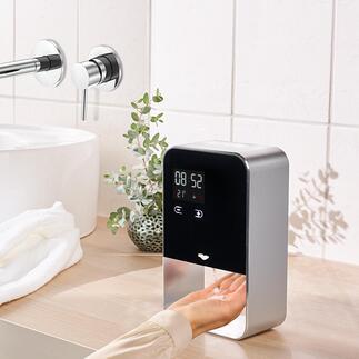 Distributeur de savon/désinfectant à capteur Beaucoup plus hygiénique. Design élégant en aluminium. Avec dosage réglable et distribution sans contact.