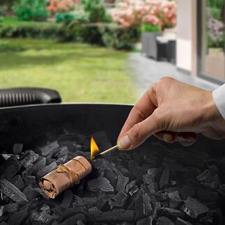 Allume-feu en écorce de bouleau pour barbecue et cheminée L'allume-feu pour barbecue nouvelle génération : 100 % naturel, 100 % durable.