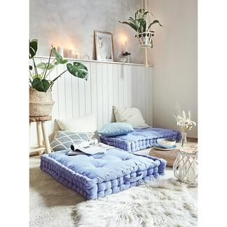 Coussin de sol XXL Cosy comme chez les Danois : le luxuriant coussin de sol au style décontracté « lounge ». Parfait pour se décontracter et se reposer sans perdre en confort.