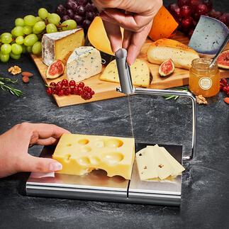 Trancheuse à fromage en inox De fines tranches de fromage sans effort. Avec fil de coupe et planche en inox rainuré.