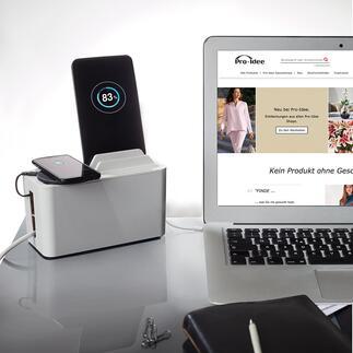 Boîte de charge design «Mini Station» Une boîte design et moderne garde à portée de main et charge votre smartphone, tablette, liseuse … tout en dissimulant les câbles et multiples prises.
