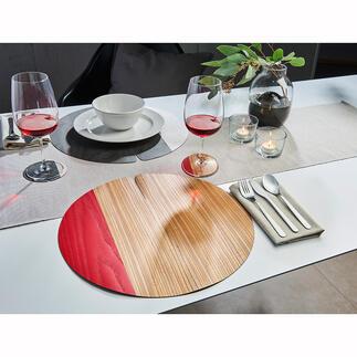 Set de table ou Dessous de verre Nelumbo La beauté naturelle du bois mais dans une version douce et flexible. Des pièces uniques fabriquées de manière artisanale.