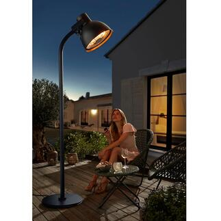 Chauffage radiant à la forme d'une lampe XXL Apporte une chaleur douillette sur votre terrasse et permet d'allonger les soirées en extérieur.