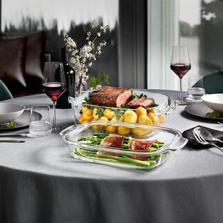 Sauteuse en verre design GrandCHEF couvercle inclus Elle passe directement du four à la table. Récompensée par le German Design Award 2020.