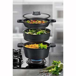 Set de casseroles ROHE, 4pièces Poêle à frire, cocotte, casserole, cuiseur vapeur ... le tout dans un ensemble peu encombrant.
