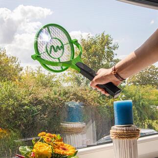 Raquette anti-moustique électrique à tête pivotante Pour une précision optimale au plafond, sur les murs ou toute surface plate. Indolore, propre et sécurisé.