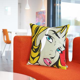 Housse de coussin pop-art « Fame » Technique précise de point de chaîne, formant un superbe motif iconique haut en couleur.