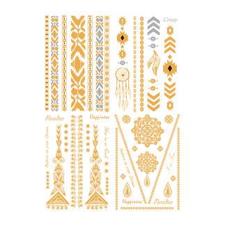 Tatouages temporaires Tendance de l'été: Tatouages bijoux dorés sur peau délicatement bronzée – simplement à coller.