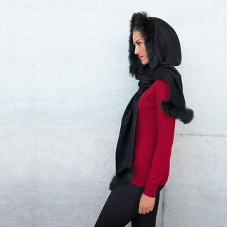 Écharpe à capuche baby alpaga D'une douceur extrêment rare: l'écharpe à capuche en baby alpaga– tissée, et non tricotée.