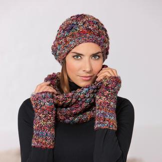 Bonnet Beanie, Gants sans doigts, Col-écharpe La Belle au Bois Dormant Coloré et tricoté à la main.