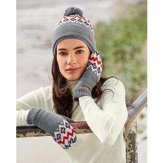 Bonnet ou Moufles en polaire et tricot norvégien Aigle Bonnet et moufles en tricot jacquard fin associé à de la polaire douillette. Par Aigle, France.