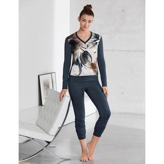 Pyjama en soie/modal « motif aquarelle » Bien plus qu'un pyjama : une petite œuvre d'art à porter à même la peau. Fabriqué en Italie, signé Verdiani.