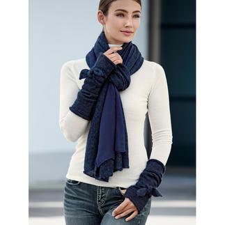 Écharpe double-face ou Manchons Ancini De chauds accessoires d'hiver, avec une touche de féminité. Écharpe double-face et manchons à nœud.