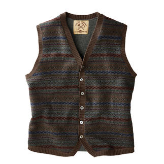 Gilet Fair-Isle Alan Paine Design traditionnel de Fair-Isle. Fils de Z. Hinchliffe & Sons. Tricot de Alan Paine.