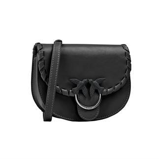 Sacoche de ceinture Pinko À forme ronde et branchée, de la noble marque italienne Pinko. Fait de cuir de veau de haute qualité.