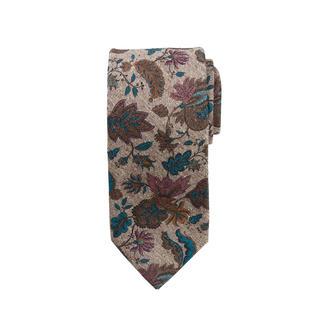 Cravate florale en tweed Ascot Imprimé floral sur tweed de soie : motif et matière rendent cette cravate si intéressante.