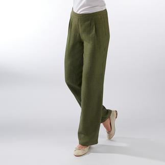 Pantalon confort à enfiler en lin Pur lin. Jambes larges tendances. Ceinture extensible confortable. Prix abordable.