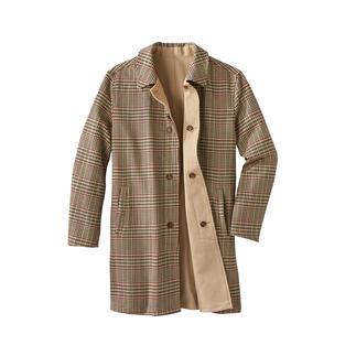 Manteau réversible en coton Aujourd'hui, beige intemporel. Demain, motif pied de poule tendance.