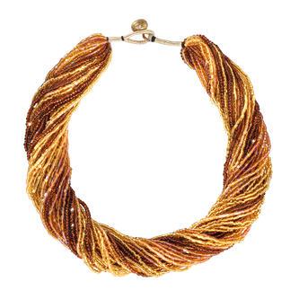 Collier népalais Fabriqué à la main au Népal, composé d'innombrables vraies petites perles de verre.