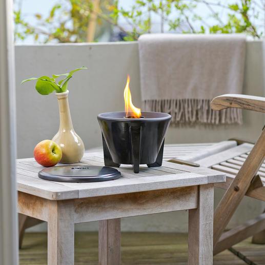 Brûleur de cire avec couvercle De belles flammes vigoureuses, même avec des restes de bougies. Utilisable toute l'année en extérieur.