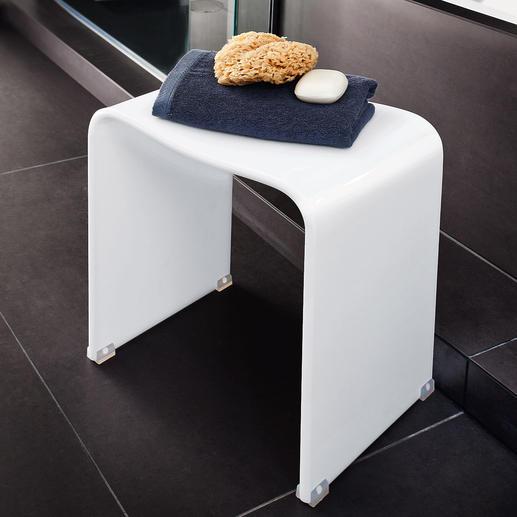 Tabouret de bain acrylique Design acrylique élégant. Robuste, 100 % résistant à l'eau, forme ergonomique. Pour intérieur & extérieur.