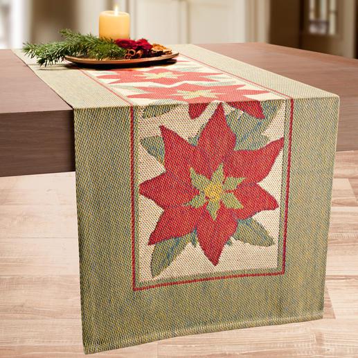 Chemin de table « Etoile de Noël » Un chemin de table comme un tableau. Luxueux tissage en technologie Pixel 3 couleurs innovante.